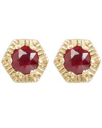 Satomi Kawakita - Metallic Gold Baby Hexagon Ruby Stud Earrings - Lyst
