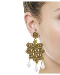 Anna E Alex - Metallic Passementarie Crystal Drop Earrings - Lyst