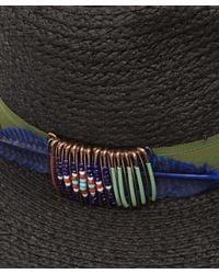 Albertus Swanepoel - Black Peacock Raffia Fedora With Beaded Trim - Lyst