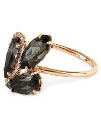 Suzanne Kalan | Metallic Rose Gold Pear Ring With Black Night Quartz And White Diamond | Lyst
