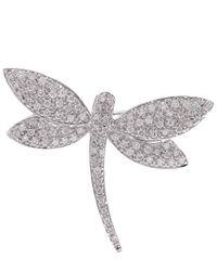Kojis | Metallic White Gold Dragonfly Diamond Brooch | Lyst