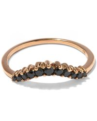 Anna Sheffield - Multicolor Black Diamond And Rose Gold Tiara Curve Ring - Lyst