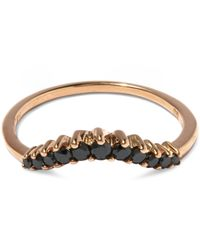 Anna Sheffield | Metallic Black Diamond And Rose Gold Tiara Curve Ring | Lyst