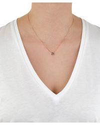 KC Designs - Metallic Rose Gold Black Diamond Letter N Necklace - Lyst
