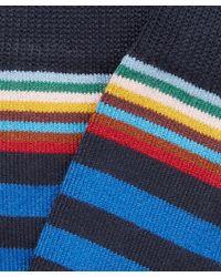 Paul Smith - Blue Block Stripe Socks for Men - Lyst
