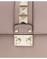 Valentino - Natural Leather Lock Medium Shoulder Bag - Lyst