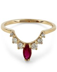 Anna Sheffield - Metallic Marquise Diamond And Ruby Tiara Band - Lyst