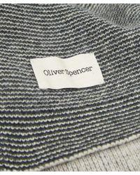 Oliver Spencer - Blue Three Stripe Wool Scarf for Men - Lyst