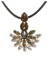 Marni | Metallic Strass Crystal Necklace With Leather Tie | Lyst