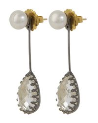 Larkspur & Hawk - White Antoinette Suspended Pear Earrings - Lyst
