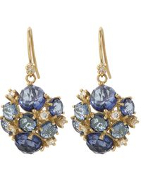 Suzanne Kalan | Gold English Blue Topaz Cluster Earrings | Lyst