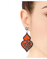 Anna E Alex - Blue Silver Plated Rhodium Velvet Ornate Drop Earrings - Lyst