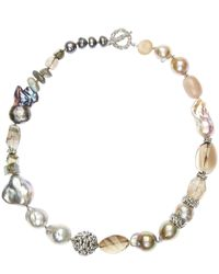 Stephen Dweck | Metallic Silver Mixed Stone And Baroque Pearl Necklace | Lyst