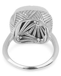 Stephen Dweck - Metallic Silver Engraved Crystal Quartz And Mother Of Pearl Ring - Lyst