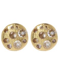 Polly Wales - Metallic Mini Gold White Sapphire Disc Stud Earrings - Lyst