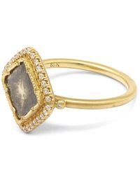 Brooke Gregson - Metallic Gold Diamond Slice Pave Square Ring - Lyst