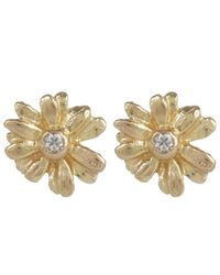 Alex Monroe | Metallic Teeny Tiny Gold Daisy Diamond Stud Earrings | Lyst