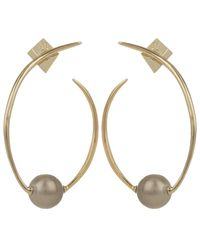 Alexis Bittar | Metallic Gold Coiled Pearl Post Earrings | Lyst