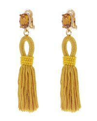 Oscar de la Renta - Yellow Short Tassel Earrings - Lyst