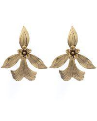 Jennifer Behr | Metallic Gold-plated Orchid Earrings | Lyst