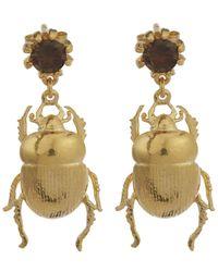 Alex Monroe | Metallic Dor Beetle And Smokey Quartz Stud Earrings | Lyst
