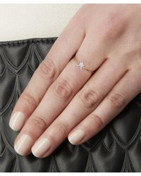 Kismet by Milka - Metallic Rose Gold Struck Single Large Star White Diamond Ring - Lyst