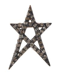Kismet by Milka | Metallic Rose Gold Doodle Star Stud Cognac Diamond Earring | Lyst
