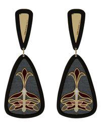 Anna E Alex - Gray Gold-plated Enamel Floral Silk Drop Earrings - Lyst
