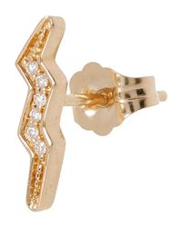 Andrea Fohrman - Metallic Gold White Diamond Mini Lightning Bolt Stud Earring - Lyst