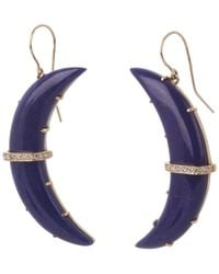 Andrea Fohrman - Metallic Gold Crescent Moon Lapis Lazuli And Diamond Large Drop Earrings - Lyst
