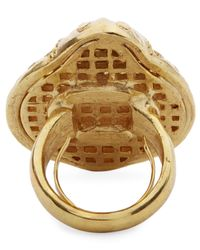 Oscar de la Renta - Metallic Scarab Ring - Lyst