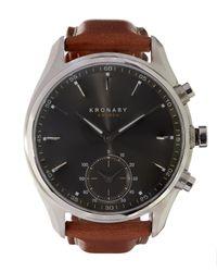 Kronaby - Brown Sekel Stainless Steel Leather Strap Smart Watch for Men - Lyst