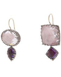 Larkspur & Hawk - Pink Silver Sadie Mis-matched Double Drop Earrings - Lyst