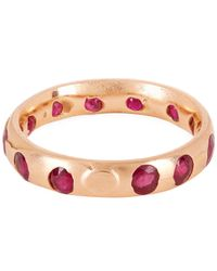 Polly Wales - Pink Rose Gold Celeste Ruby Crystal Ring - Lyst