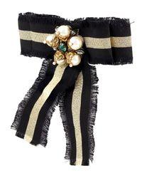 Gucci - Black Web Grosgrain Bow Brooch - Lyst