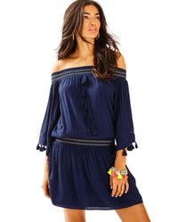 Lilly Pulitzer Blue Joelle Off-the-shoulder Dress