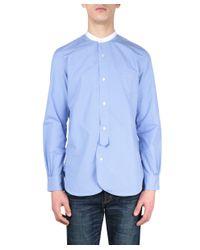 Junya Watanabe - Light Blue Mandarin Collar Shirt for Men - Lyst