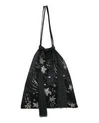 Attico - Black Satin Emboidered Bag - Lyst