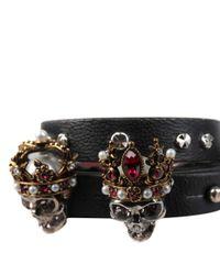 Alexander McQueen - Black Queen & King Leather Bracelet - Lyst