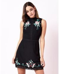 Lipsy   Black High Neck A Line Embroidery Dress   Lyst