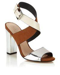 Office | Brown Tri-tone Metallic Block Heeled Sandals | Lyst