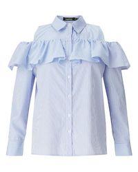Boohoo | Blue Cold Shoulder Ruffle Shirt | Lyst