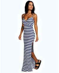 Boohoo | Blue Emily Stripe Wrap Front Maxi Dress | Lyst