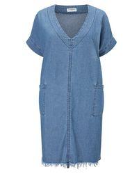 Glamorous   Blue Curve Denim Raw Hem Dress   Lyst