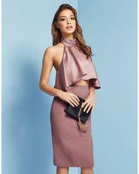 Lost Ink | Pink Halter Midi Dress | Lyst