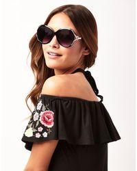 Lipsy | Black Large Round Glam Sunglasses | Lyst