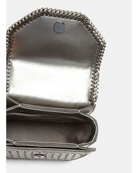 Stella McCartney - Metallic Wicker Falabella Box Mini Shoulder Bag In Gunmetal Silver - Lyst