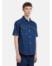 ad02602c823 Lyst - AMI Oversized Denim Short Sleeved Shirt In Blue in Blue for Men