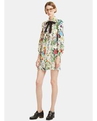 Gucci - Multicolor Flora Snake Print Ruffled Shirt Dress In Ivory - Lyst