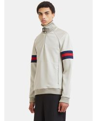 J.W. Anderson - Gray Sports Striped Zip-up Sweater In Grey for Men - Lyst